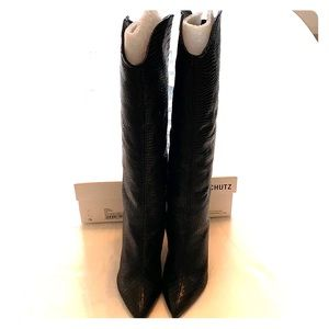 Schutz Maryana Black Croc Embossed Leather Boot